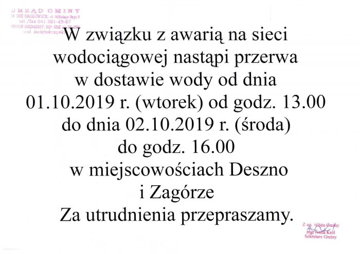 Przerwy w dostawie wody w dniu 01.10.2019r. w miejscowościach: Deszno i Zagórze