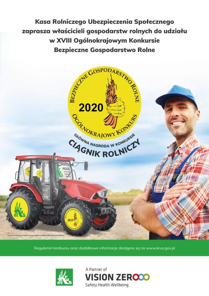 Plakat informacyjny - XVIII Ogólnokrajowy Konkurs Bezpieczne Gospodarstwo Rolne
