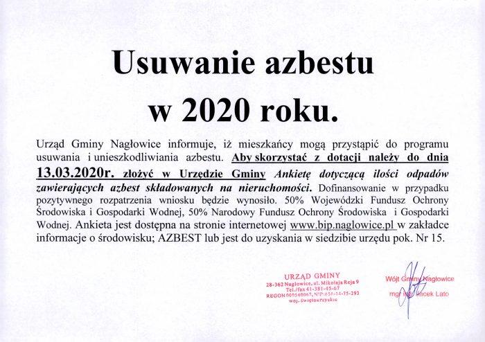 Ogłoszenie - usuwanie azbestu w gminie Nagłowice w 2020 roku