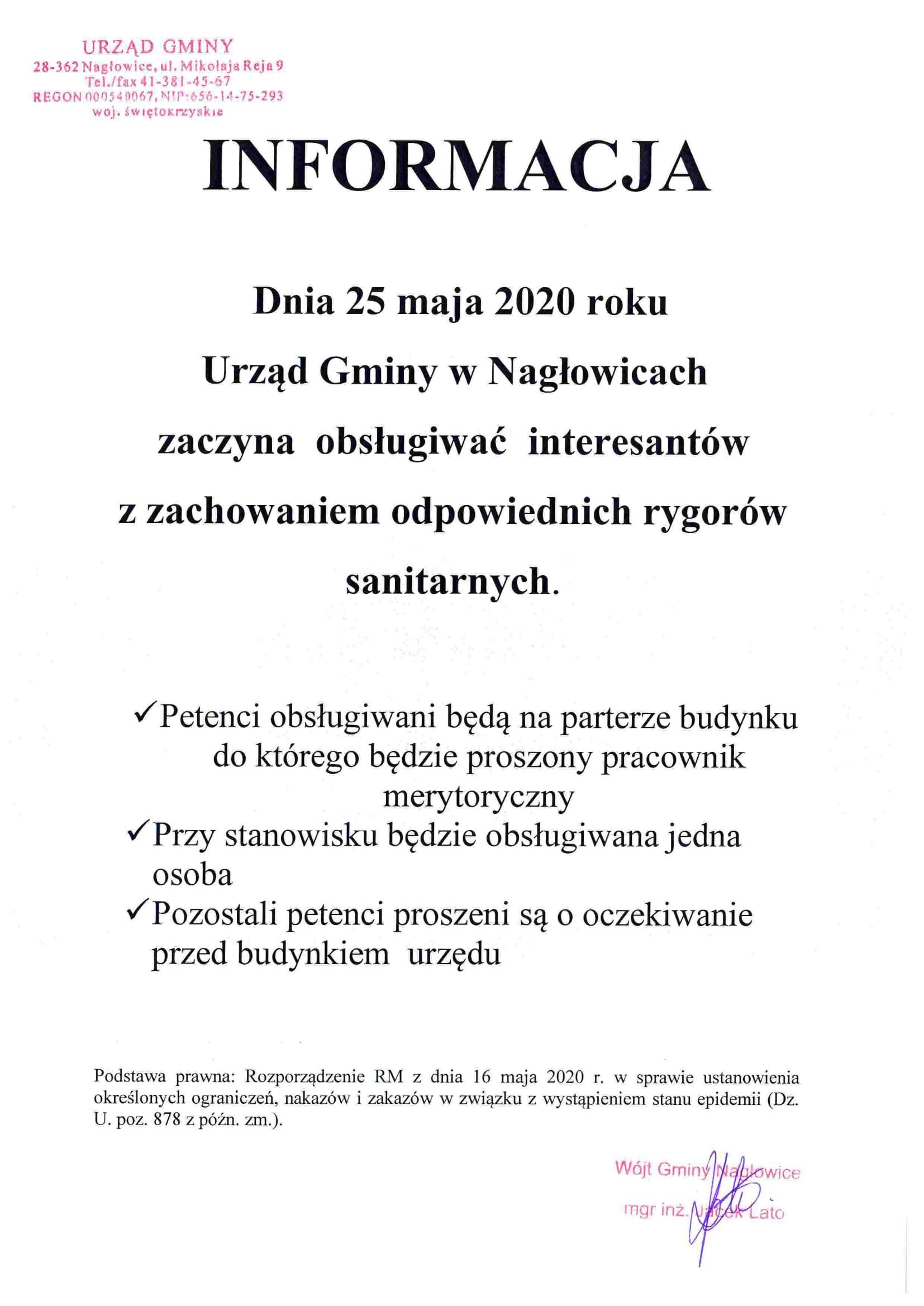 Informacja - Od dnia 25 maja Urząd Gminy w Nagłowicach zaczyna obsługiwać interesantów z zachowaniem odpowiednich rygorów sanitarnych