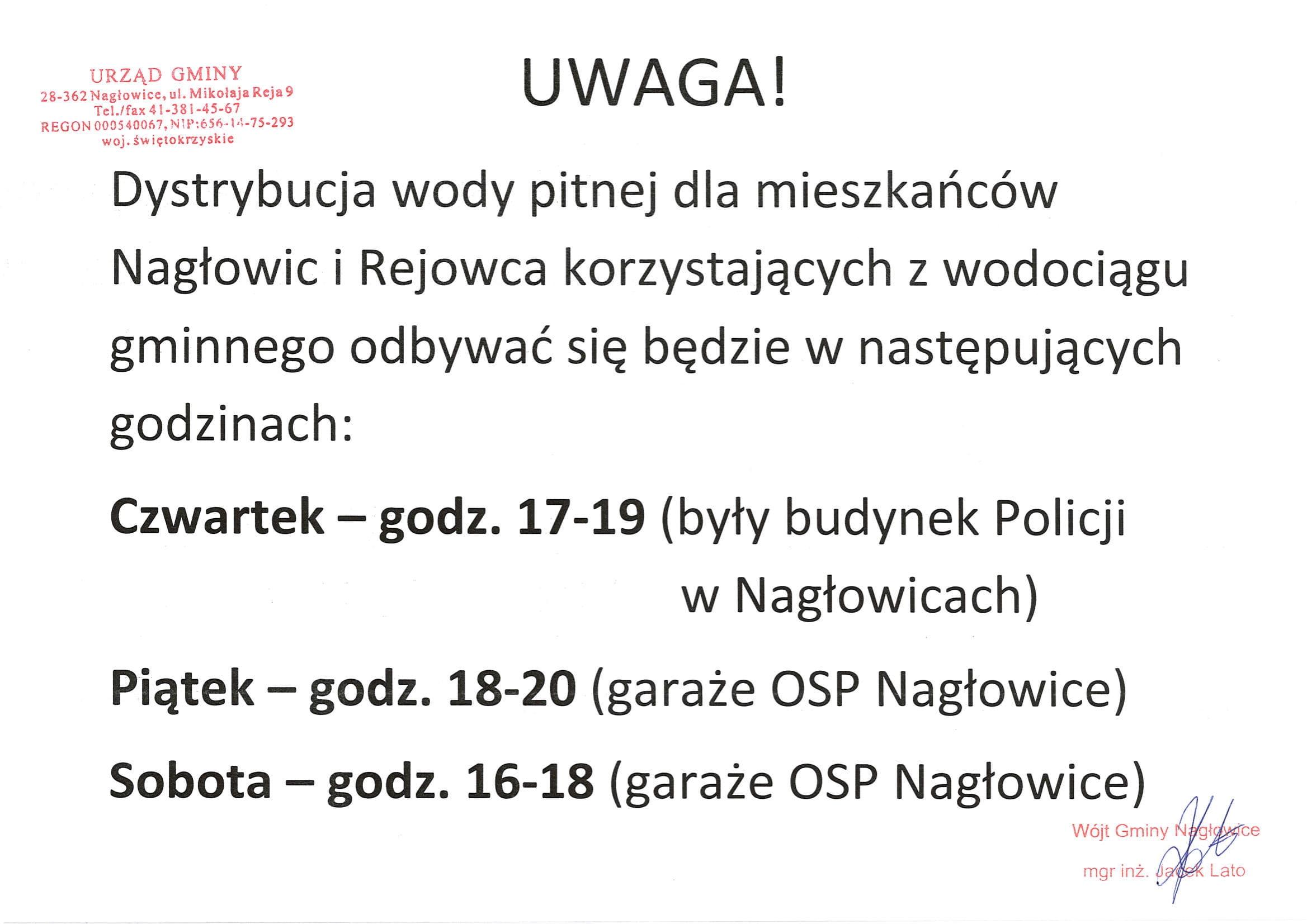 Komunikat !!! Dystrybucja wody pitnej dla mieszkańców Nagłowic i Rejowca