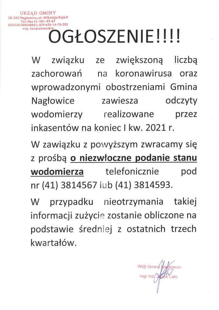 Ogłoszenie o zawieszeniu odczytów wodomierzy przez inkasentów za I kwartał 2021r.